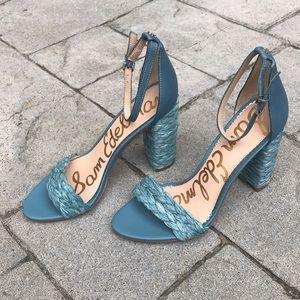 Blue Sam Edelman Woven Block Heel Yoana Sandals